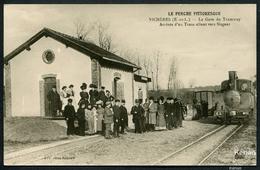 Reproduction Ancienne D'une CPA - Vichères - La Gare Du Tramway Arrivée D'un Train Allant Vers Nogent - See 2 Scans - Autres Communes