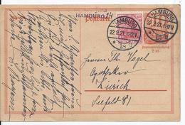 Dt.- Reich (001815) Ganzsache P141I Mit Zusatzfrankatur, Gelaufen In Die Schweiz Von Hamburg Am22.9.1921 - Deutschland