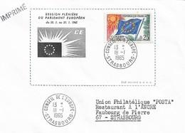 Envel. Session Plénière Du Parlement Européen Du 18.01 Au 23.01.1965 - Oblit. 18.01.65, Conseil De L'Europe STRASBOURG. - Officials