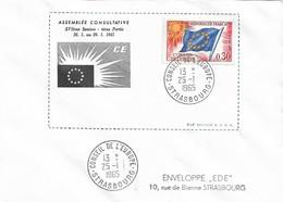 Envel. Assemblée Consultative XVIème Session Du 25.01 Au 23.01.1965 - Oblit. 25.01.65, Conseil De L'Europe STRASBOURG. - Officials