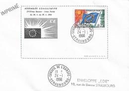 Envel. Assemblée Consultative XVIIème Session Du 24.01 Au 28.01.1966 - Oblit. 24.01.66, Conseil De L'Europe STRASBOURG. - Officials