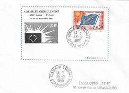 Envel. Assemblée Consultative XVIIIème Session Du 26.09 Au 30.09.1966 - Oblit. 26.09.66, Conseil De L'Europe STRASBOURG. - Officials