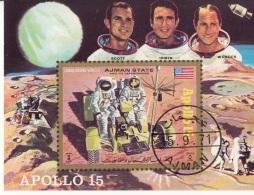 Bf. 319B Ajman 1971 Space Missione Apollo 15 Scott Irwin Worden Imperf - FDC & Commemorrativi