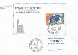 Envel. Parlement Européen Du 25.11 Au 30.11.1968 - Oblit. 25.11.68, Conseil De L'Europe STRASBOURG. Voir Descrip. - Service