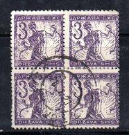YUG3B - YUGOSLAVIA 1919 ,  Emissione Di Lubiana : 3 Heller Quartina Usata - 1919-1929 Kingdom Of Serbs, Croats And Slovenes