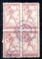 YUG11A - YUGOSLAVIA 1919 ,  Emissione Di Lubiana : 30 Heller Quartina Usata - 1919-1929 Kingdom Of Serbs, Croats And Slovenes