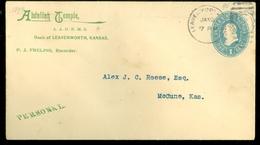 USA 1899 GREEN 1 Cent * LETTER  To McCUNE KANSAS   (11.444zz) - 1847-99 Algemene Uitgaves