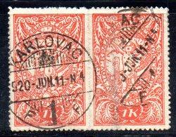 YUG44A - YUGOSLAVIA 1919 ,  Zig Zag : 1 Kr Coppia Usata Karlovac - 1919-1929 Kingdom Of Serbs, Croats And Slovenes