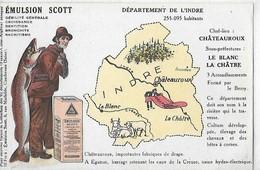 CARTE PUBLICITAIRE INDRE  EMULSION SCOTT  COULEURS   DEPT 36 - Autres Communes