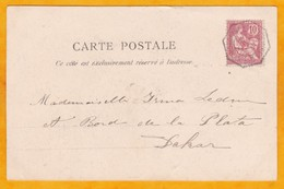 1919  - CP Vers Dakar, Sénégal Par Ligne Maritime Bordeaux Buenos Aires - 10 C Mouchon - Postmark Collection (Covers)