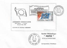 Envel. Assemblée Consultative XXIème Session Du 12.05 Au 15.05.1969 - Oblit. 12.05.69, Conseil De L'Europe. Voir Descrip - Service
