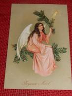 """FANTAISIES  - ANGES  -  """"Joyeux Noël """"  - Ange Sur Une Branche  (carte Gaufrée) - Angels"""