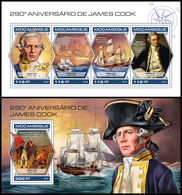 MOZAMBIQUE 2018 - James Cook Ships, M/S + S/S. Official Issue - Ships