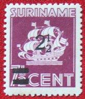 2 1/2 Op 7 1/2 Ct Hulpuitgifte Overprint Scheepje NVPH 211 1945 MH / Ongebruikt SURINAME / SURINAM - Surinam ... - 1975