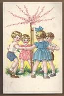 NL.- Kinderkaart. Dansende Kinderen Om Boom. Meisjes. Jongens. 1940. - Groepen Kinderen En Familie