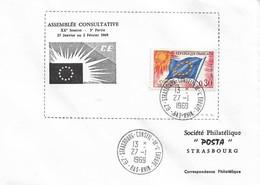 Envel. Assemblée Consultative XXème Session Du 27.01 Au 02.02.1969 - Oblit. 27.01.69, Conseil De L'Europe STRASBOURG. - Officials