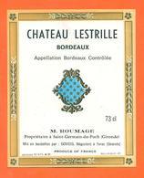 étiquette Vin De Bordeaux Chateau Lestrille M Roumage à Saint Germain Du Puch - 73 Cl - Bordeaux