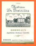 étiquette Vin De Bordeaux Chateau La Barrière 1969 Bosredon à Artigues De Bordeaux - 73 Cl - Bordeaux