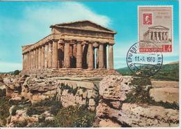 Saint Marin Carte Maximum 1959 Temple De La Concorde Agrigente 475 - San Marino