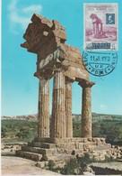 Saint Marin Carte Maximum 1959 Temple De Caster Et Polux Agrigente 476 - Saint-Marin