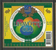 ESTONIA Estland Beer Label Lihavõtte Õlu Ostern Easter - Bière
