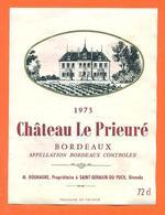 étiquette Vin De Bordeaux Chateau Le Prieuré1973 M Roumagne à Saint Germain Du Puch - 72 Cl - Bordeaux