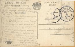 Op-397: S.M. C St.NICOLAAS C 6 X 1914 > PANNE 7 X 1914 : Pk: St Nicolas St-Anthonis Kasteel... Belges En Flandrers - Invasión