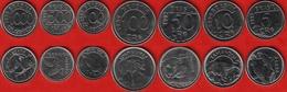 "Brazil Set Of 7 Coins: 5 - 1000 Cruzeiros 1992-1994 ""Animals"" UNC - Brazil"
