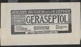 FASCETTA PER RIVISTA LA LETTURA MEDICA 1926 CON AL RETRO PUBBLICITA' MEDICA GERASEPTOL - Pubblicitari