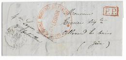 FIN GUERRE 1870 - FEV.1871 - LETTRE PP De La GARDE NATIONALE MOBILISEE De L'ISERE à GRENOBLE - Postmark Collection (Covers)