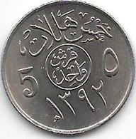 *saudi Arabia 5 Halala AH1392 = 1972  Km 45  Unc/ms63 - Arabie Saoudite
