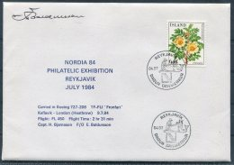 1984 Iceland Reykjavik NORDIA 84 Philatelic Exhibition Flight Cover (limited Edition Of 20) - 1944-... Repubblica