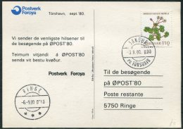 1980 Faroe Islands OPOST '80 Philatelic Exhibition Music Comic Postcard - Faroe Islands