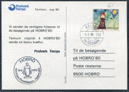 1980 Faroe Islands HOBRO '80 Philatelic Exhibition Music Comic Postcard - Faroe Islands