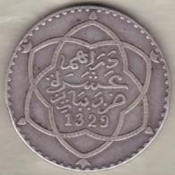 Maroc. 10 Dirhams (1 Rial) AH 1329 Paris, Moulay Hafid I, En Argent - Marokko