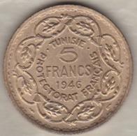 Tunisie Protectorat Français.  5 Francs 1946 (AH 1365). Bronze -Aluminium . Sup/XF ++ - Tunisie