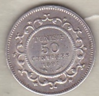 Tunisie Protectorat Français. 50 Centimes 1891 A (AH 1308) , En Argent - Tunisie