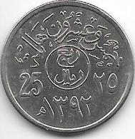 *saudi Arabia 25 Halala AH1392   Km 47  Xf+/ms60 - Arabie Saoudite