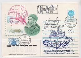 NORTH POLE Station Base Polar ARCTIC Mail Cover Stationery USSR RUSSIA Murmansk Shmidt Chelyuskin - Stazioni Scientifiche E Stazioni Artici Alla Deriva