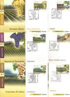 Enologia, Uva, Vino, Vite. 2012, Italia, Serie 15 Cartoline Maximum Di Poste Italiane Annullo Primo Giorno Di Emissione. - Agricoltura
