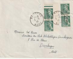 France Guerre Dunkerque Coudekerque N 1 (dallay ) Tirage 800 Sur Letttre De Bergues Du 3 8 1940 RRR - Postmark Collection (Covers)