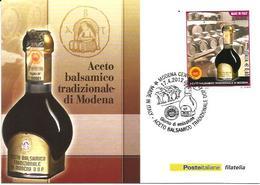 Aceto Balsamico, Vino, Spilamberto 17.4.2012, Cartolina Poste Italiane Con Annullo Figurato Primo Giorno Di Emissione. - Alimentazione