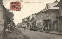 French Guiana, Guyane, CAYENNE, Rue Christophe-Colomb, Steamroller 1907 Postcard - Postcards
