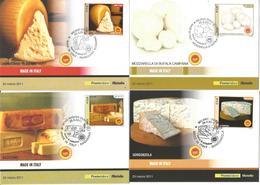 Formaggi Made In Italy, 25.3.2011, Serie 4 Cartoline Maximum Poste Italiane, Annullo Figurato Primo Giorno Di Emissione. - Alimentazione