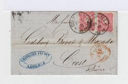 Sur Lettre Deux Timbres Empire 10 Pf. Rose Carmen. CAD Colmar 1877 Alsace Occupée. (715) - Lettres