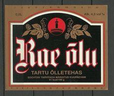 ESTONIA Estland Beer Label Tartu Rae Õlu - Beer
