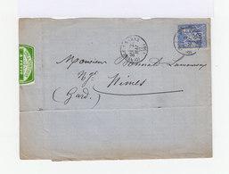 Sur Lettre Type Sage 25 C. Bleu. CAD Ionville 1877. (716) - Marcophilie (Lettres)