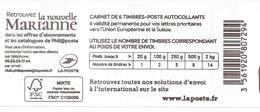 "Carnet ""La Nouvelle Marianne"" 6 Timbres EUROPE - Booklets"