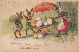 """CPSM  9x14  """"  LAPINS - TABLE - OEUFS Et PARAPLUIE  - En RELIEF - Easter"""