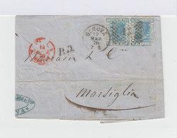 Sur Lettre Timbre Victor Emmanuel II Paire De 20 C. Bleus. Oblitération Genova Gros Chiffres 13. CAD Genova 1870. (718) - Marcophilie - EMA (Empreintes Machines)